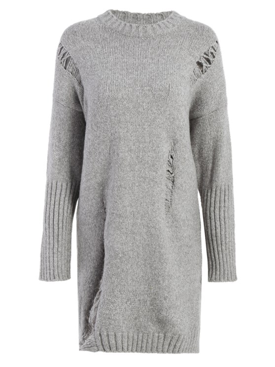 online Long Distressed Sweater - GRAY ONE SIZE