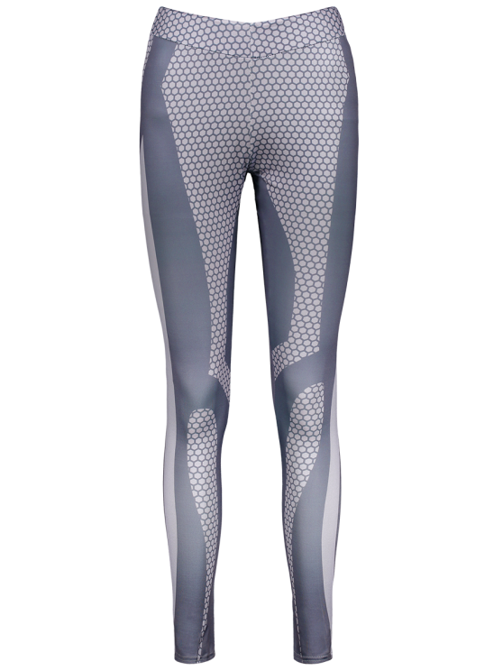 unique Panelled Print Leggings - GRAY S