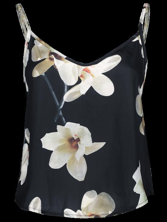 Adjusted Floral Satin Camisole - BLACK M Mobile