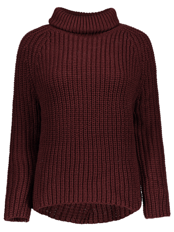 Turtleneck Chunky Pullover Sweater - BURGUNDY ONE SIZE Mobile