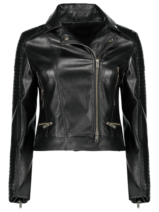 Zippered PU Leather Motorcycle Jacket - BLACK S Mobile