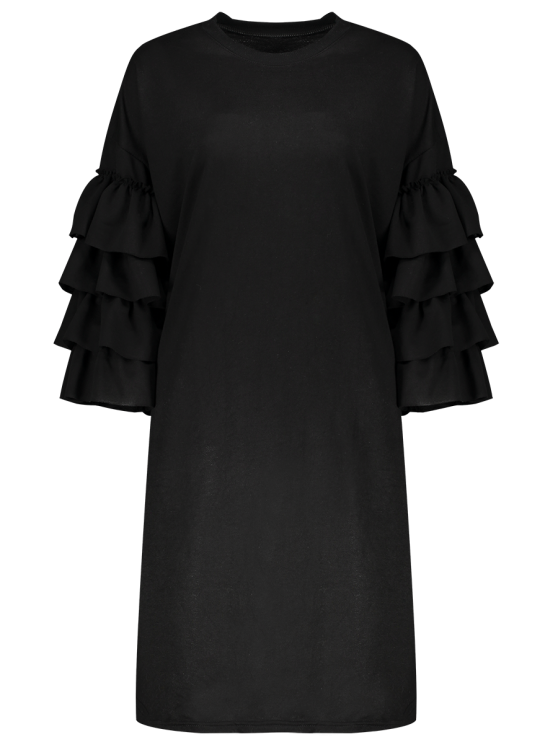 Frilled Sleeve Tunic Dress - BLACK L Mobile