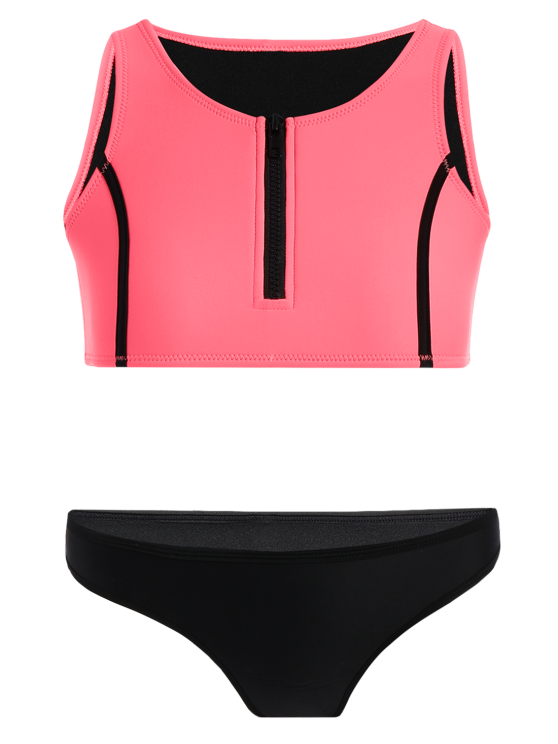 Half Zip Neoprene Bikini Set - WATERMELON RED M Mobile