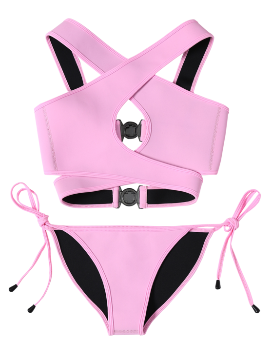 Crossover Cut Out Bikini Set - PINK M Mobile