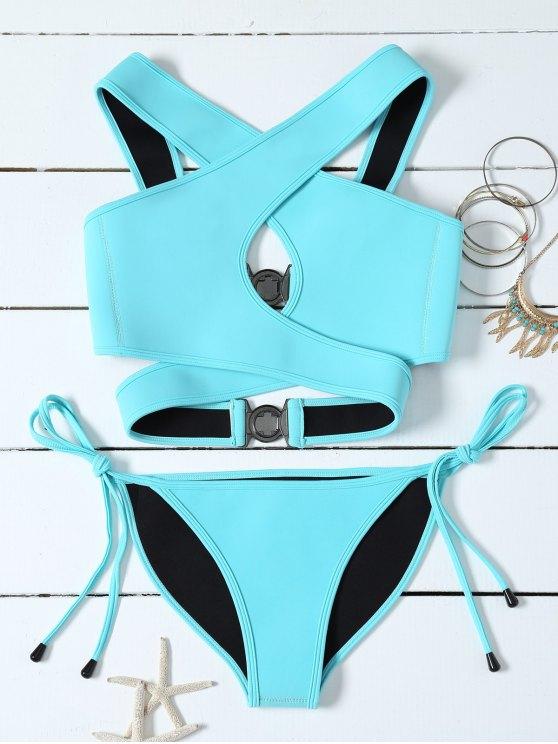 Crossover Cut Out Bikini Set - AZURE S Mobile