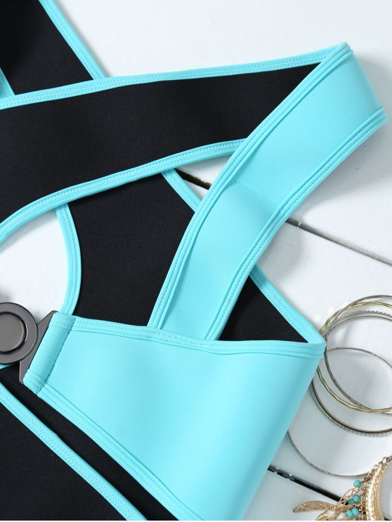 Crossover Cut Out Bikini Set - AZURE M Mobile