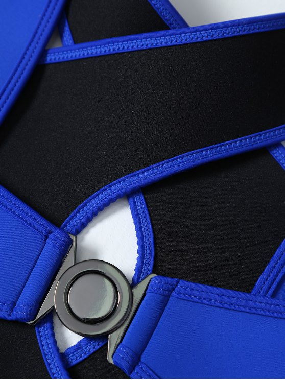 Crossover Cut Out Bikini Set - DEEP BLUE M Mobile