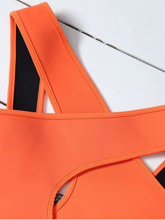 Crossover Cut Out Bikini Set - ORANGE S Mobile