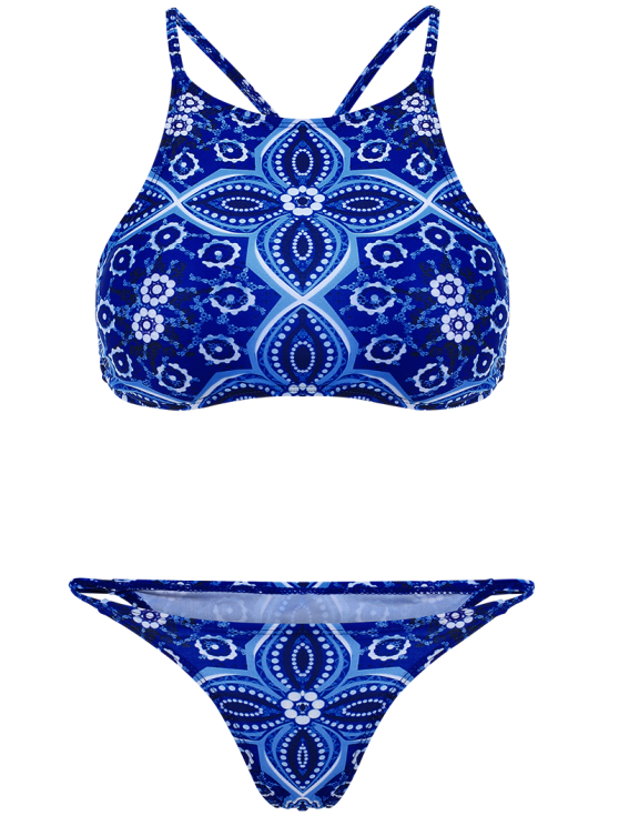 Criss Back High Neck Printed Bikini - BLUE S Mobile