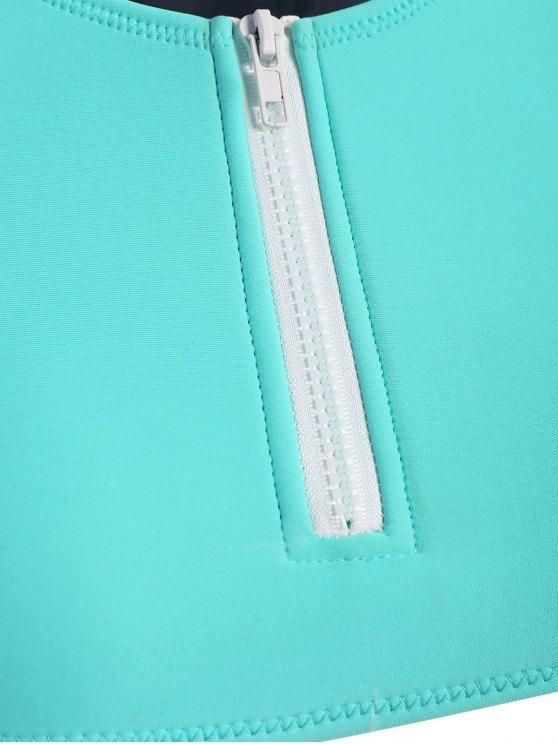 Half Zip Neoprene Bikini Set - TURQUOISE L Mobile