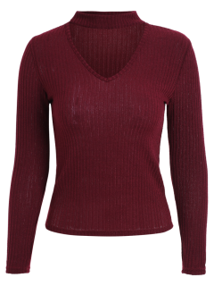 Cutout V Neck Choker Jumper - Wine Red S