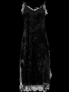 Lace Trim Velvet Cami Dress - Black S