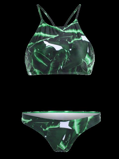 best High-Neck Leaf Print Bikini Set - WHITE AND GREEN XL Mobile