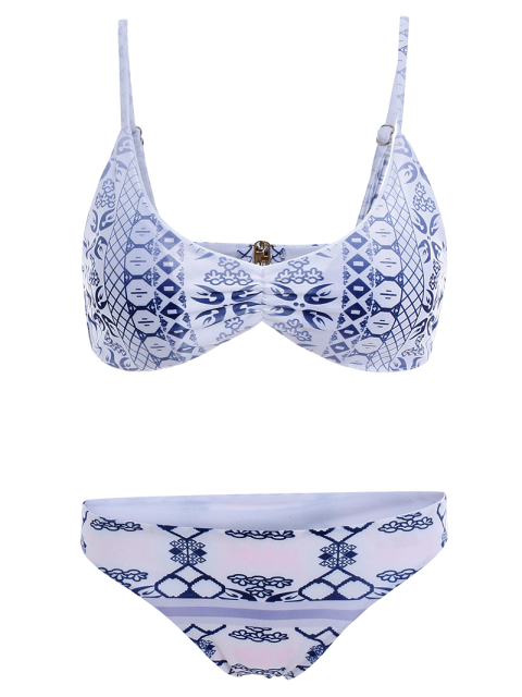 trendy Blue and White Porcelain Cami Bikini - BLUE AND WHITE L Mobile