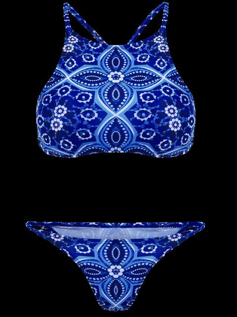 fashion Criss Back High Neck Printed Bikini - BLUE S Mobile