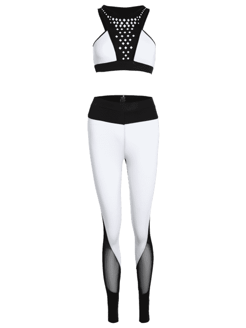lady Geometric Print Bra and Mesh Leggings - WHITE AND BLACK M Mobile