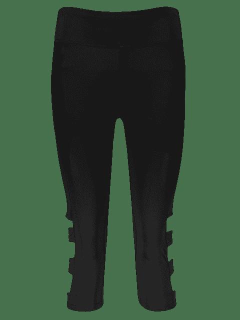 online Hollow Out Quick -Dry Gym Capri Workout Pants - BLACK M Mobile