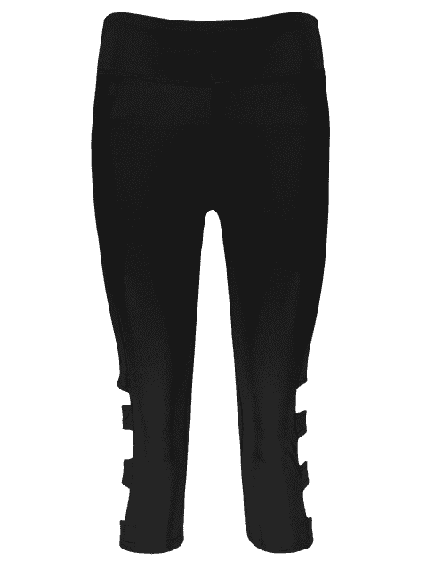 new Hollow Out Quick -Dry Gym Capri Workout Pants - BLACK S Mobile
