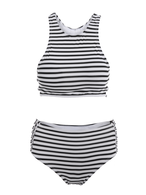 fashion Striped High Waisted Bikini with Crop Top - WHITE AND BLACK M Mobile