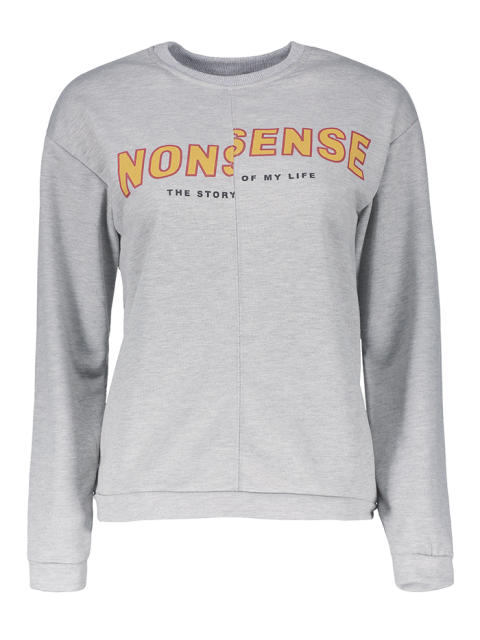 hot Nonsense Crew Neck Sweatshirt - GRAY S Mobile