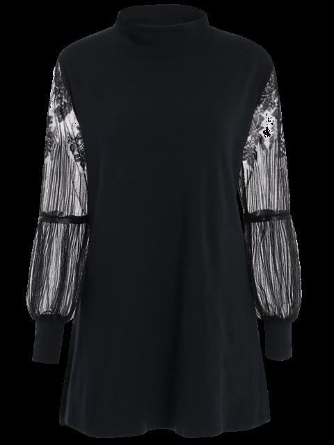 shop Lace Panel Mock Neck Sweater Dress - BLACK 3XL Mobile