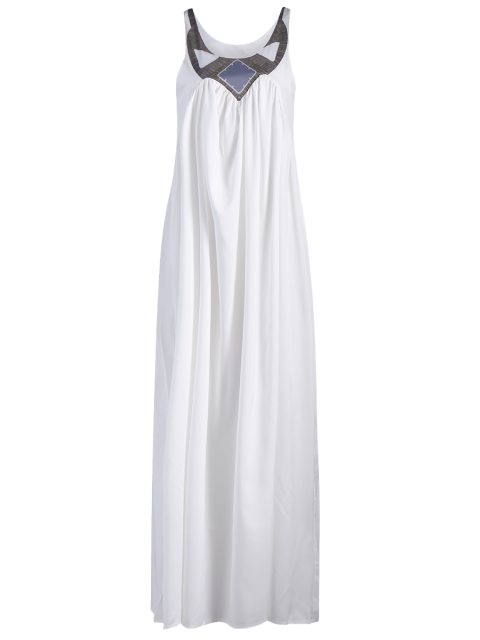 outfits Jewel Neck Smock Summer Maxi Dress - WHITE XL Mobile