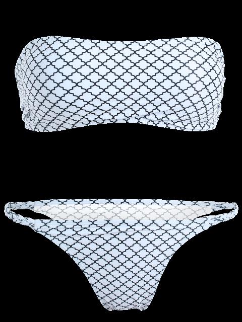 chic V-String Bandeau Bikini Set - WHITE M Mobile