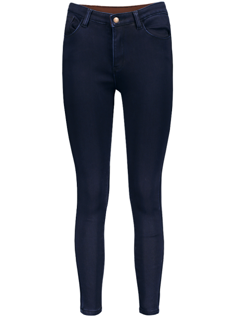 women's Super Elastic Wool Blend Pencil Jeans - DEEP BLUE S Mobile