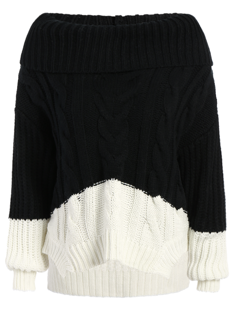 fashion Cowl Neck High-Low Sweater - BLACK ONE SIZE Mobile