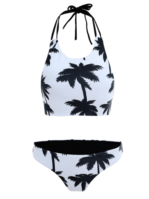 latest Coconut Palm Pattern High Neck Bikini - WHITE XL Mobile