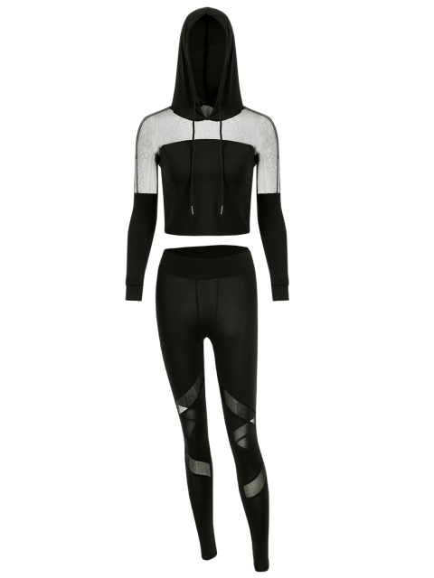 sale Cropped Hoodie with Mesh Leggings - BLACK M Mobile