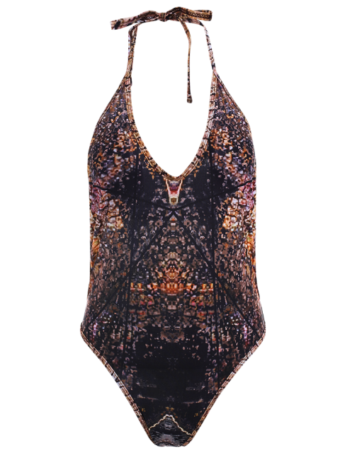 fashion Backless Abstract Print One-Piece Swimwear - TAN M Mobile