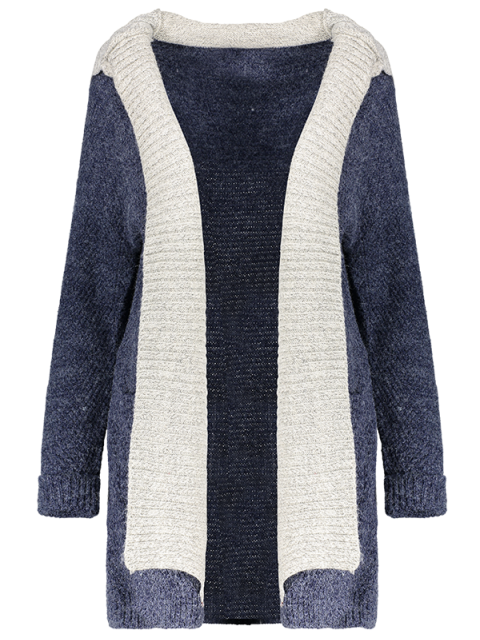 latest Hooded Faux Twinset Cardigan - PURPLISH BLUE M Mobile