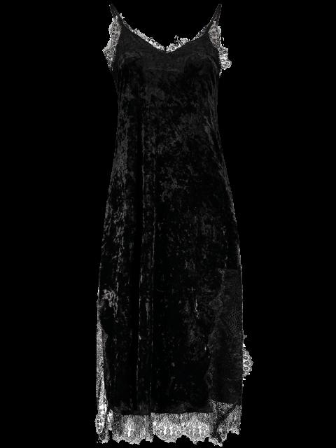 best Lace Trim Velvet Cami Dress - BLACK M Mobile