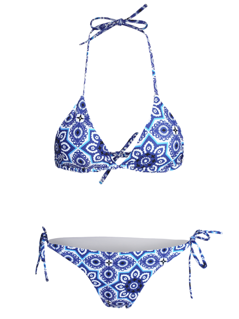 latest Halter String Ethnic Printed Bikini Set - BLUE L Mobile