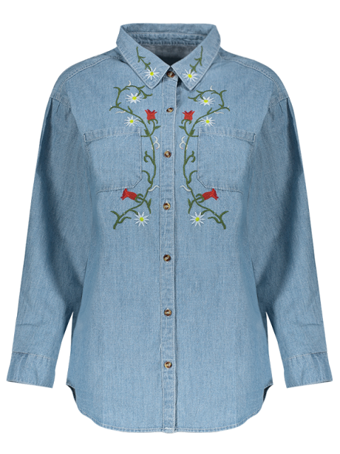 latest Flower Embroidered Pockets Chambray Shirt - LIGHT BLUE L Mobile