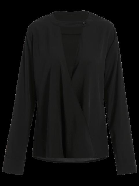 women Chiffon Crossover Choker Blouse - BLACK M Mobile