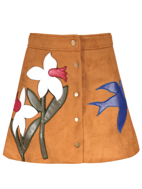 outfit Leather Patch Floral Suede Skirt - GINGER L Mobile