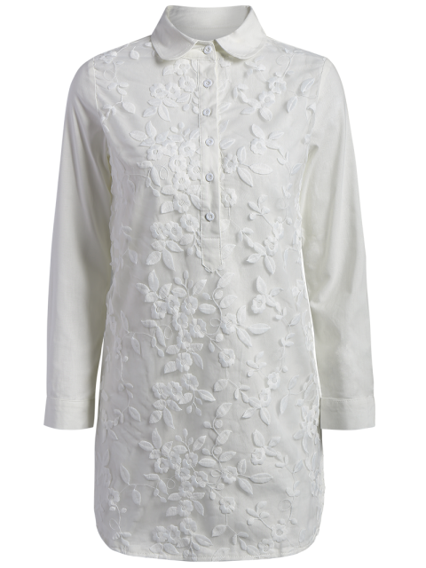 hot Buttoned Embroidered Blouse Collared Shirt - WHITE S Mobile
