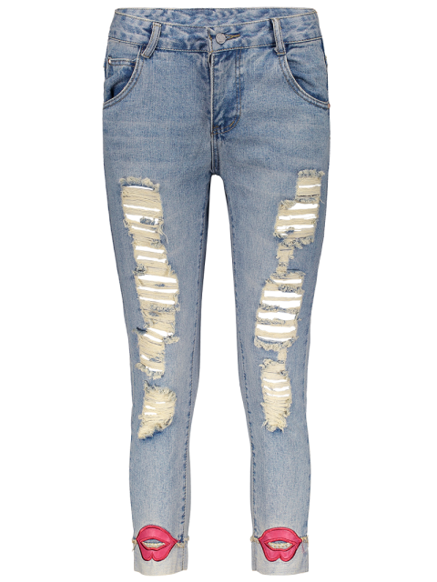 women Red Lips Ripped Jeans - LIGHT BLUE 31 Mobile