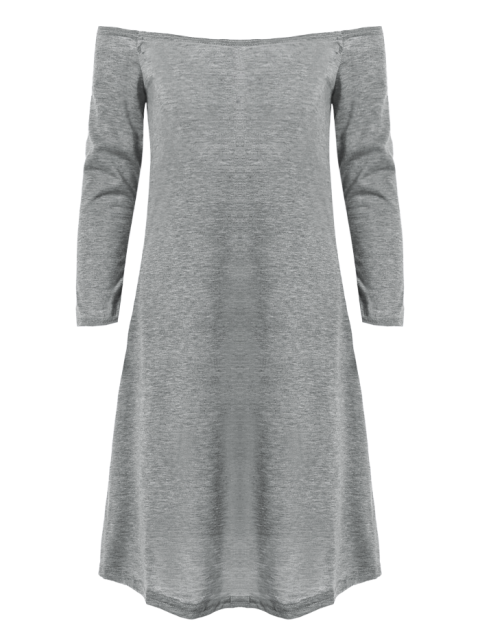 women Long Sleeves Off Shoulder Dress - GRAY S Mobile