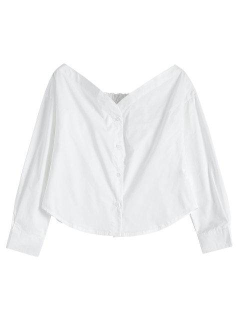 fashion Off The Shoulder Button Up Blouse - WHITE L Mobile