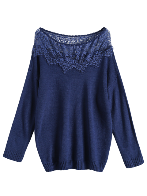 ladies Lace Insert Pullover Plus Size Sweater - DEEP BLUE 2XL Mobile