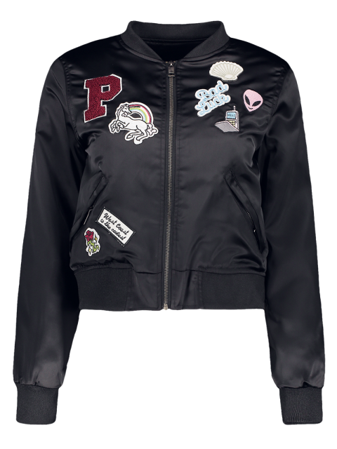 unique Quilted Patched Bomber Jacket - BLACK S Mobile