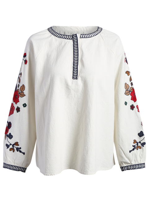 womens Embroidered Sleeve Blouse - OFF-WHITE M Mobile