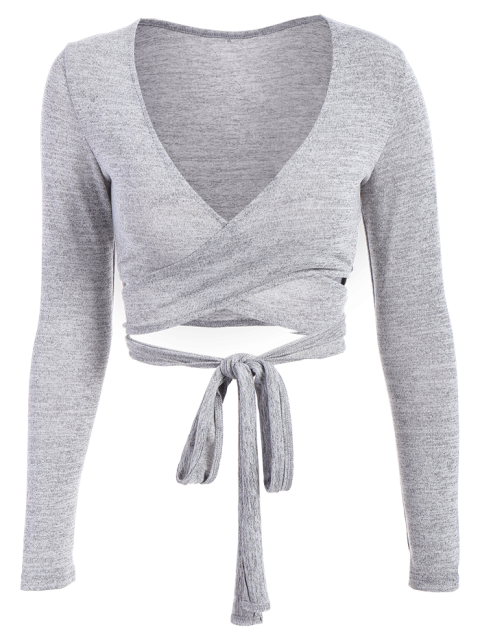 shop Long Sleeved Cropped Wrap Top - GRAY XL Mobile