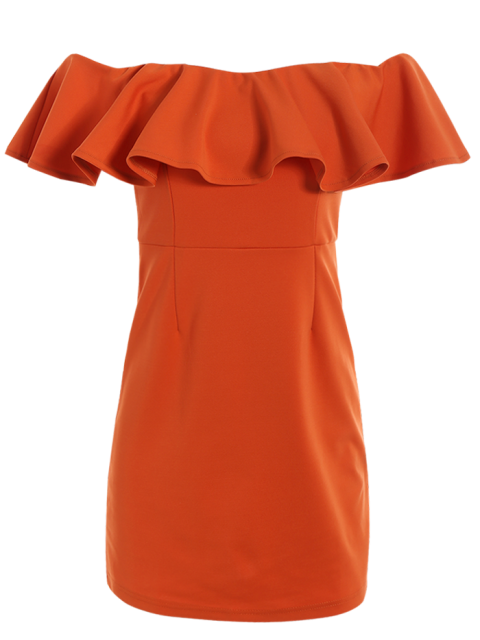 trendy Off The Shoulder Ruffles Bodycon Dress - ORANGE RED S Mobile