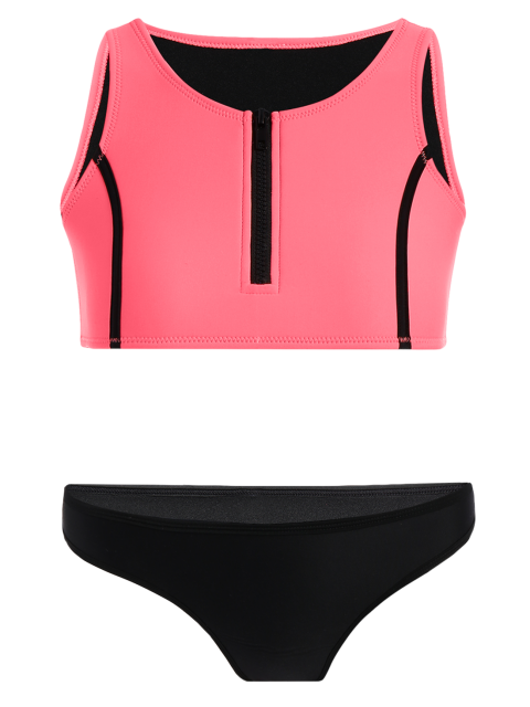 new Half Zip Neoprene Bikini Set - WATERMELON RED L Mobile