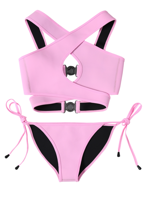 unique Crossover Cut Out Bikini Set - PINK L Mobile