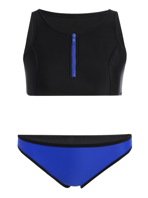 latest Half Zip Neoprene Bikini Set - BLACK S Mobile